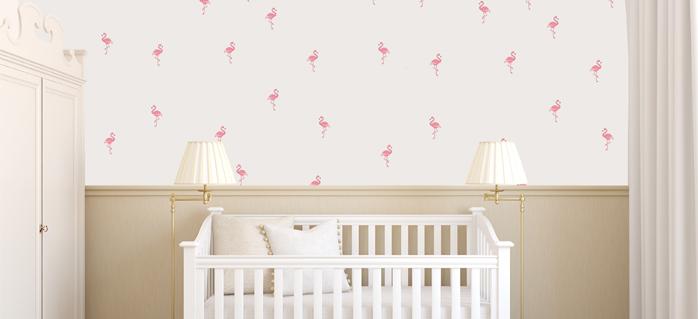 מדבקות לחדרי תינוקות פלמינגו