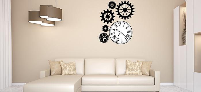 מדבקות קיר לסלון דגם שעון