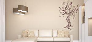 מדבקות קיר לסלון עץ
