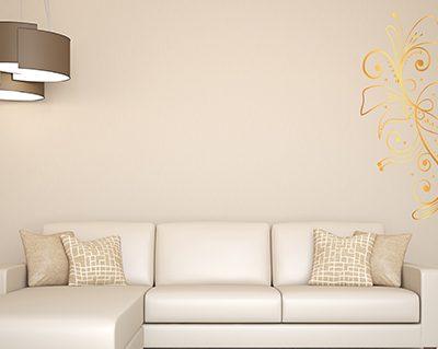 מדבקות קיר לסלון פרחים זהב