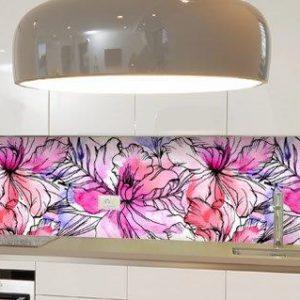 מטבח זכוכית פרחים