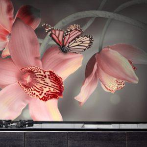 תמונות זכוכית דגם פרחים ופרפרים